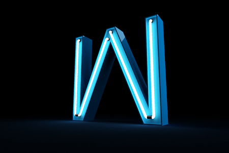 Blue Neon light alphabet 3d rendering on black background Banco de Imagens - 101594343