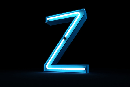 Blue Neon light of Z alphabet 3d rendering on black background Stock fotó - 101686705