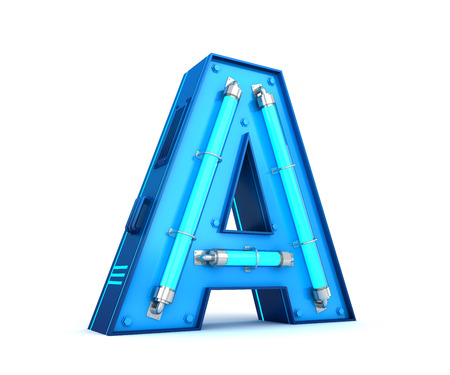 Neon light alphabet 3d rendering with clipping path