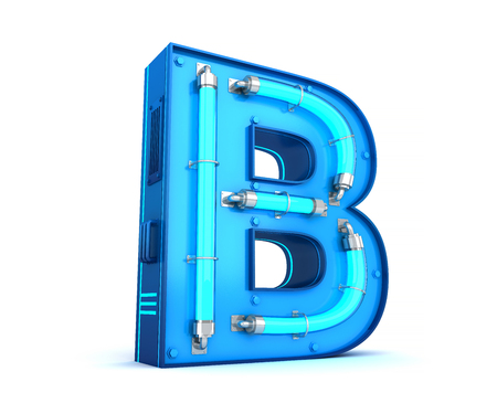 Neon light alphabet 3d rendering with clipping path Banco de Imagens - 111071930