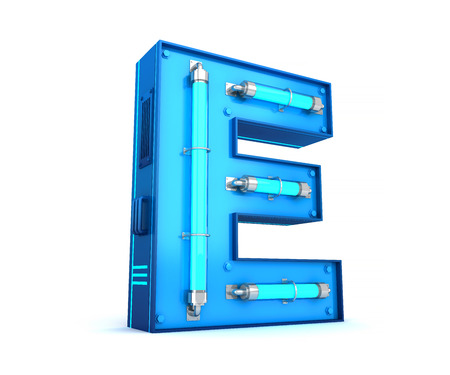 Neon light alphabet 3d rendering with clipping path Stock fotó - 111071933