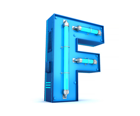 Neon light alphabet 3d rendering with clipping path Stock fotó - 111071934