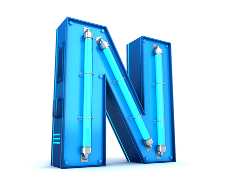 Neon light alphabet 3d rendering with clipping path Banco de Imagens - 111071943