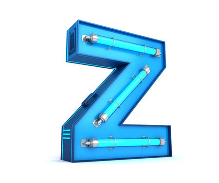 Neon light alphabet 3d rendering with clipping path.