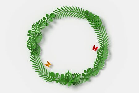 Green Leaves are circle shape on white background, Butterfly paper fly, 3d rendering, with clipping path Stock fotó