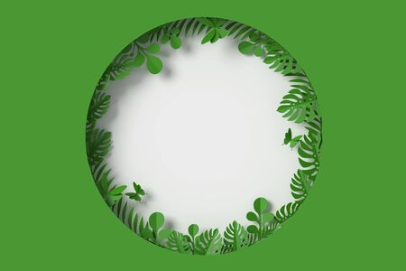 Green Leaves are circle framed shape on white background, Butterfly paper fly, 3d rendering, with clipping path. Foto de archivo - 130217526
