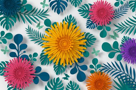 Colorful Flower paper style, paper craft floral, Butterfly paper fly, 3d rendering, with clipping path