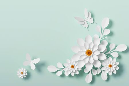 White Flower paper style, paper craft floral, Butterfly paper fly, 3d rendering, with clipping path. Stock fotó