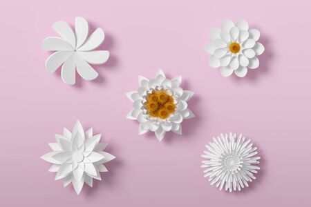 White Flower paper style, paper craft floral, 3d rendering, with clipping path. Foto de archivo - 130217535