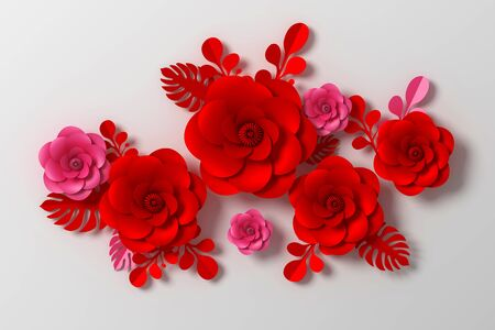 Flower paper style, colorful rose, paper craft floral, 3d rendering, with clipping path. Foto de archivo - 130217536