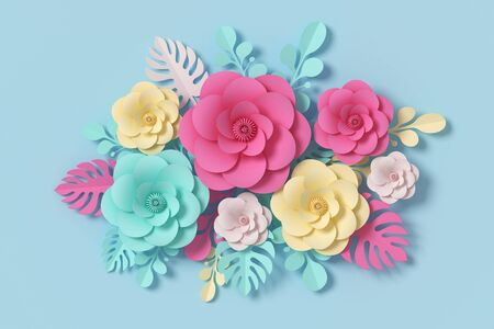Flower paper style, paper craft floral, 3d rendering, with clipping path Foto de archivo - 130217534