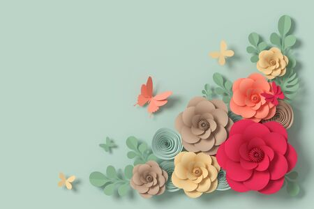 Flower paper style, paper craft floral, 3d rendering, with clipping path Foto de archivo - 130217533