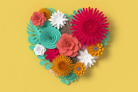 Flower paper style, paper craft floral, 3d rendering, with clipping path
