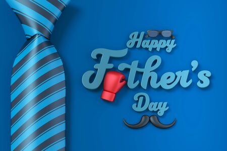 Happy Father's Day Three dimensional characters 3d rendering for greeting card with clipping path. Фото со стока