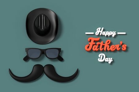 Happy Father's Day Three dimensional characters 3d rendering for greeting card with clipping path.