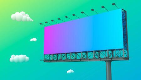 cartelera en blanco para publicidad exterior sobre fondo de colores con trazados de recorte. Representación 3D.