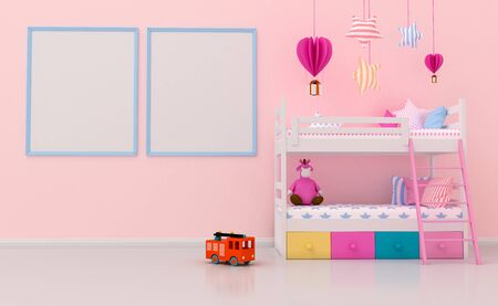 Mock up Kids room interior decorated,  wall in child room with Picture frame, 3d rendering illuatration. Stock fotó