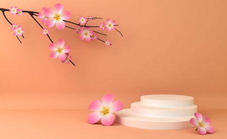 Display background for Cosmetic product presentation. Empty showcase,  3d rendering illustration, Sakura flower.