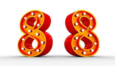 Red Number light bulb 3d rendering on white background with Clipping path ready to use.