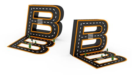 Alphabet symbols of the Figures in the form of a road, white and yellow line markings on white background with clippling paths.3d Rendering illustration.