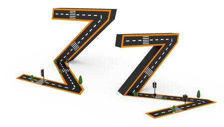 Number symbols in the form of a road, white and yellow line markings on white backgroun.3d Rendering illustration. Stock fotó