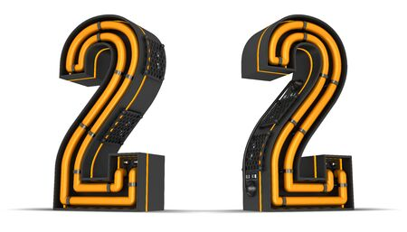 Number Neon light 3d rendering illustration with clipping paths. Imagens