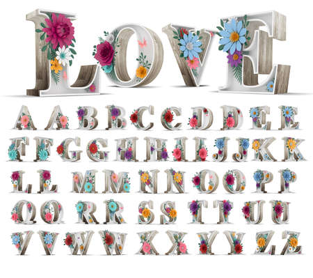 Wood alphabet and colorful flower decoration on white background 3d rendering illustration.