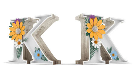 Wood alphabet and colorful flower decoration on white background with clipping paths. 3d rendering illustration. Standard-Bild