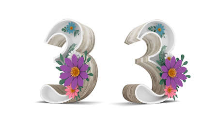 Wood number and colorful flower decoration on white background with clipping paths. 3d rendering illustration. Standard-Bild