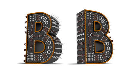 Alphabet Punk style 3d rendering illustration with clipping paths. Standard-Bild