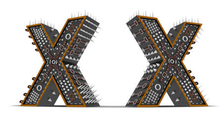 Alphabet Punk style 3d rendering illustration with clipping paths. Фото со стока