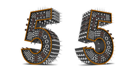 Number Punk style 3d rendering illustration with clipping paths.