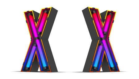 Neon Light alphabet 3d rendering illustration with clipping paths.