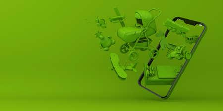 Online Shopping Children's equipment, Mobile Application, 3d rendering.