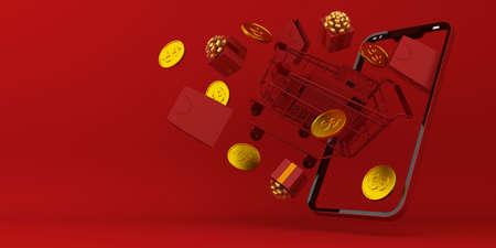 Online Shopping, Mobile Application, 3d rendering.