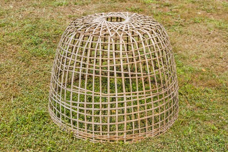 chicken cage: chicken cage made of wood and bamboo.