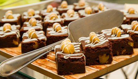 Isolated Brownie dessert on a tray