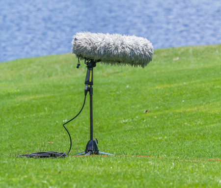 commentators: A large microphone boom with stand at the grass.