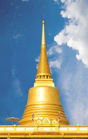 Golden Mountain Near Wat Sraket temple at Bangkok Thailand. photo