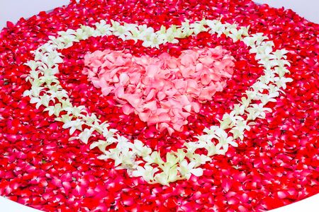 Close up, rose petals and leelawadee with heart shape decoration in bathtub Standard-Bild