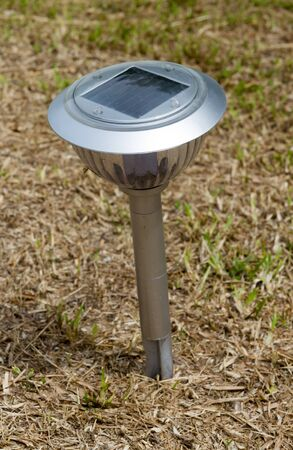 Close up, Solar lamp in the garden for saving energy.