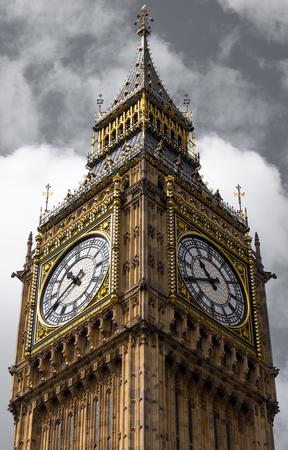 bigben: Closer look of big ben in pale cloudy sky, London, England