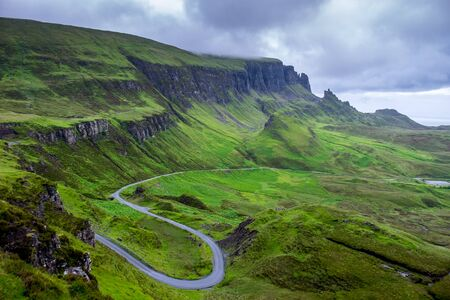 devious: Quirang and devious road in a cloudy day, Isle of Skye, Scotland