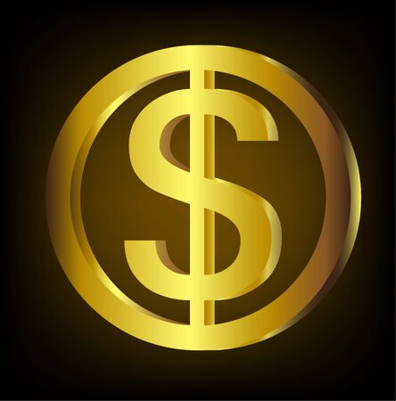 Golden dollar coin  illustration Çizim
