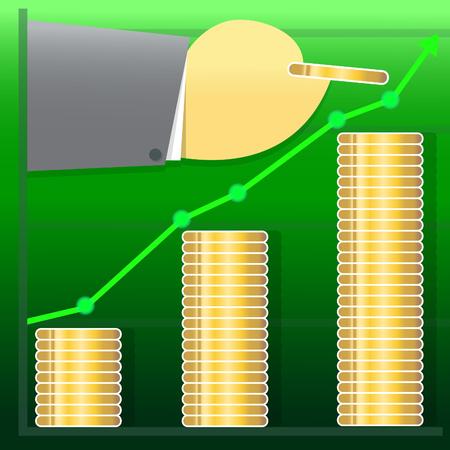 bullish market: marketing business graphs growth vector illustration