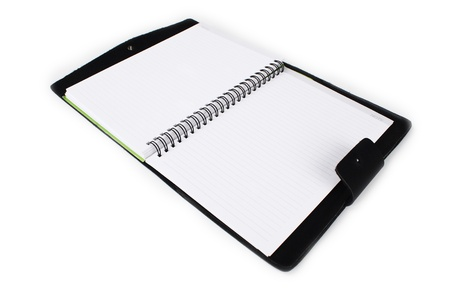 notebook two face on white paper photo