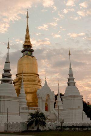 Buddhism pagoda  Wat Suan Dok, Bub pha ram , Chiangmai  Stock Photo