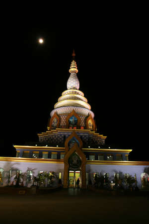 Night Chedi Kaew  Crystal Pagoda  Wat Thaton Stock Photo