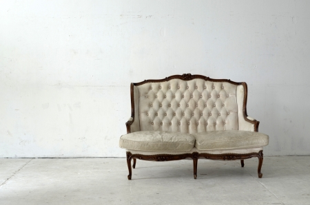 leather sofa in white room  Stock Photo