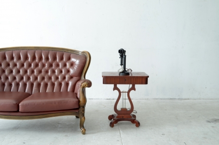 leather sofa in white room  写真素材